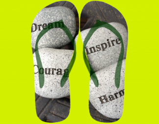 Flip flops with picture of stones bearing words of inspiration - Dream, Courage, Inspire, Hamony