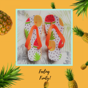 Flip flops with images of fruit