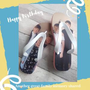 Family on flip flops