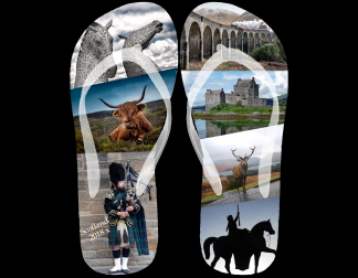 Flip flop image with collage of Scottish iconic photos