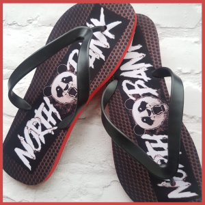 Flipflops withNOrthbank logo on and panda