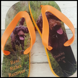 Flip Flops with dog on them