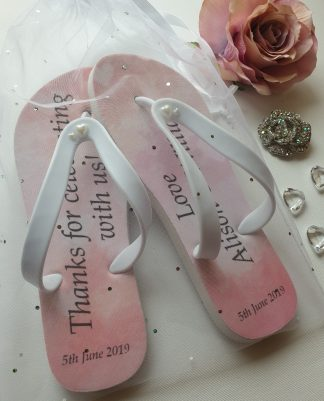 Pink Flip Flops with wedding text