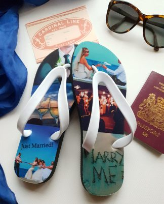 Flip Flops with a collage of photos printed on them