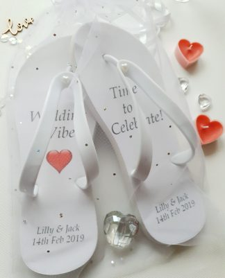 Flip Flops with wedding vibes text