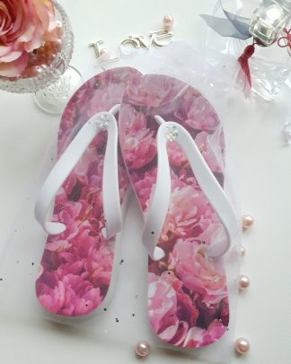 Flip Flops with pink carnations on them