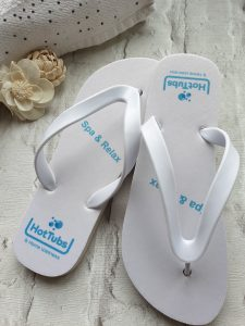 Flip Flops with Spa & Relax text