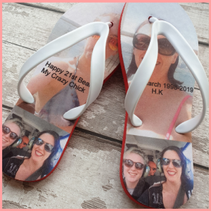 Flip Flops with images and 21st text