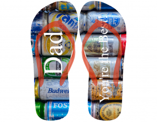 """Father's day themed flip flops with stacked cans and the phrase """"Dad, You're the Best!"""""""