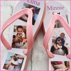 Pink Flip Flops with images of Luna and Minnie