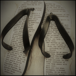 Flip Flops with a poem printed on them