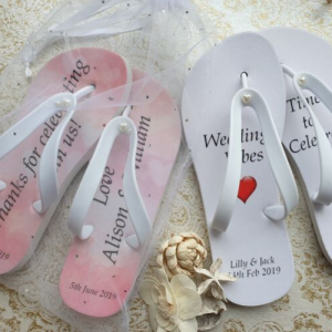 Wedding Flip Flops in organza bags