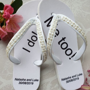 "Wedding Flip Flops with ""I Do and ""Me Too"""