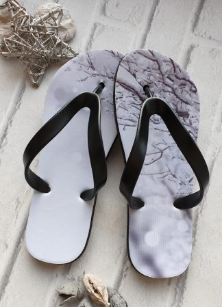 Christmas Flip Flops with an image of a snow tree