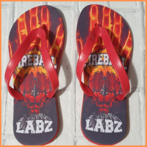 Flip Flops with Fireball Labz logo