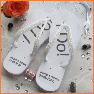 "Wedding Flip Flops with ""I do"" text"