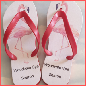 Flip Flops with pictures of Flamingos