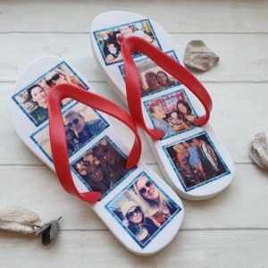 Flip Flops with snap-in collage images of a celbration