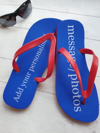 A pair of Flip Flops with text saying Add your own personlaised message or photos
