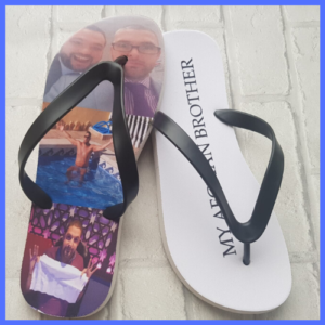 Fun personalised flip flops with photos of two male friends