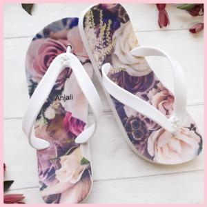 Floral wedding flip flops