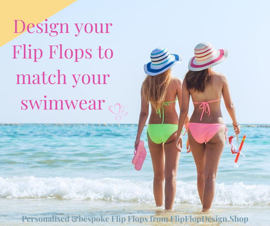 2 women on the beach with co-ordinating swimwear and flipflops