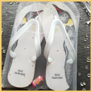 Flip Flops with emporer penguins images on them