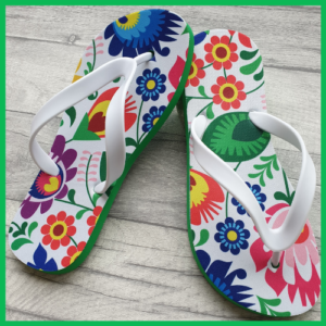 Flip Flops with Floral designs on them