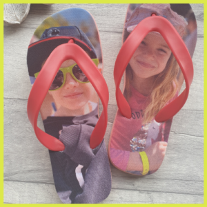 Flip Flops with the images of 2 smiling children