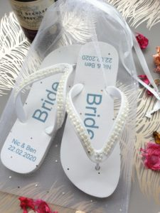 Wedding Flip Flops with the text Bride