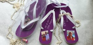 Purple Flip Flops with images of the bride and groom