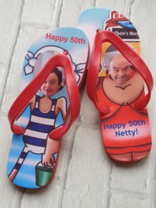 Flip Flops with funny images of a couple and happy 50th