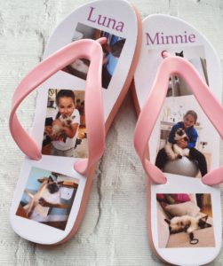 Flip Flops with images of cats and a young girl