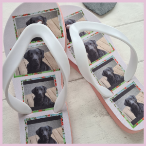 Flip Flops with photos of a dog on them
